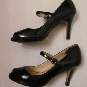 COLE HAAN patent Mary Jane peep toe Pumps shoes 7